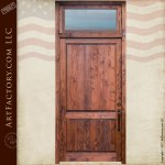 custom solid wood entry door with transom