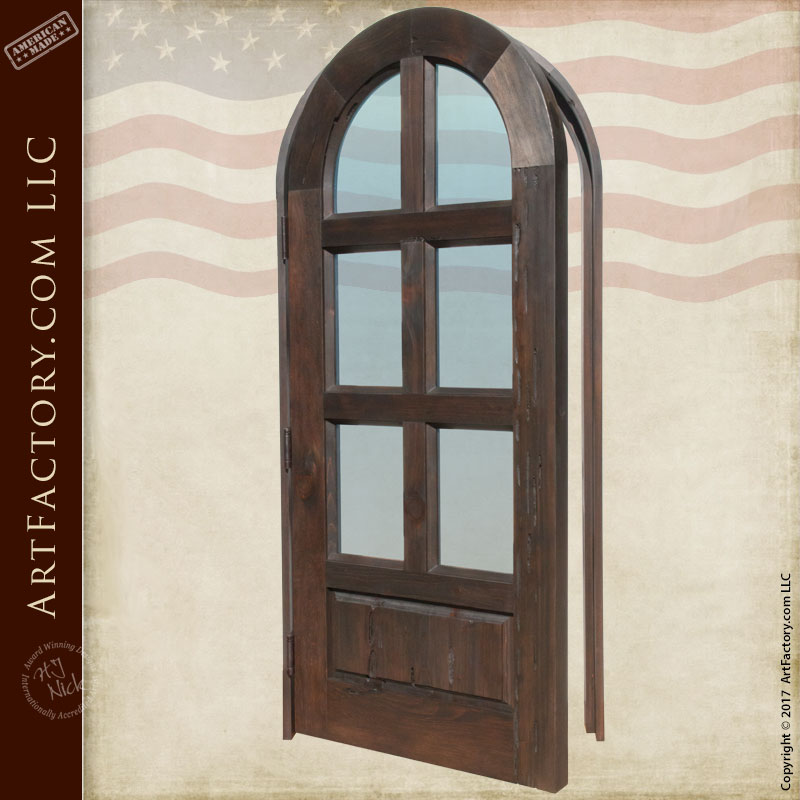 Arched Glass Panel Door Handcrafted Solid Wood And Dual Pane Glass
