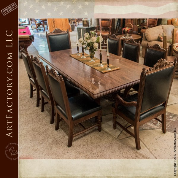 Fine Dining Table: Hand Carved Dining Table: Fine Art Solid Wood Dining Furniture