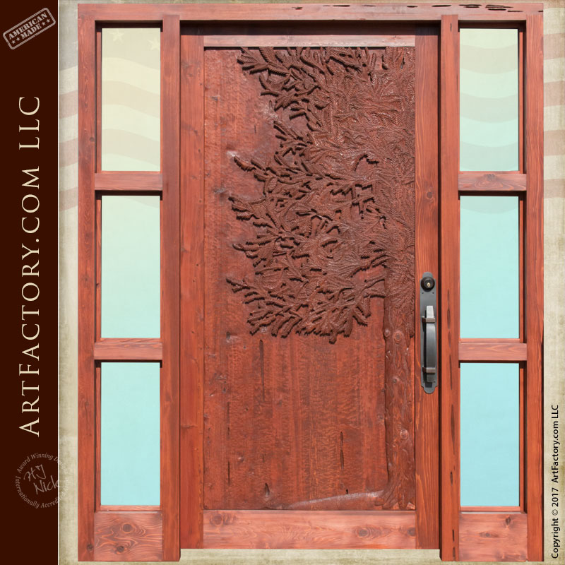 hand carved custom door ... & Hand Carved Douglas Fir Exterior Door With Sidelights
