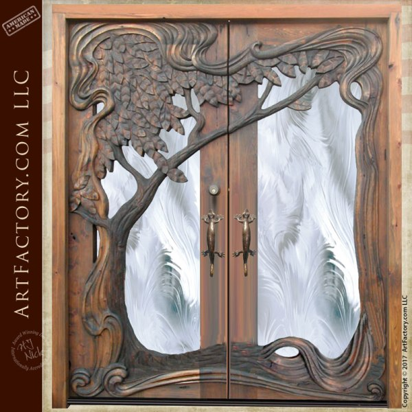 Art Nouveau Style Hand Carved Door With Custom Decorative