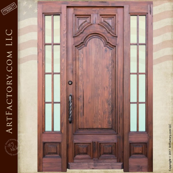 Custom Italian Designed Entry Door Iron Hardware And Divided