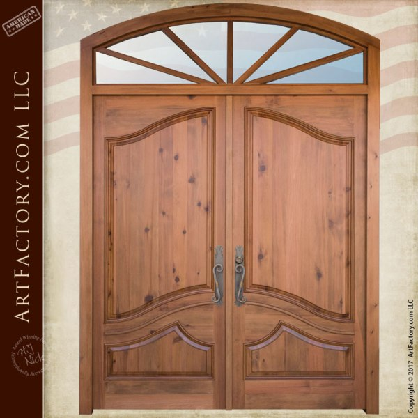 Tuscan Style Custom Solid Wood Entry Door With Transom