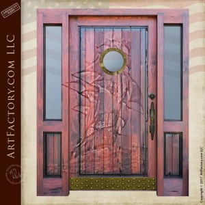custom carved wooden door