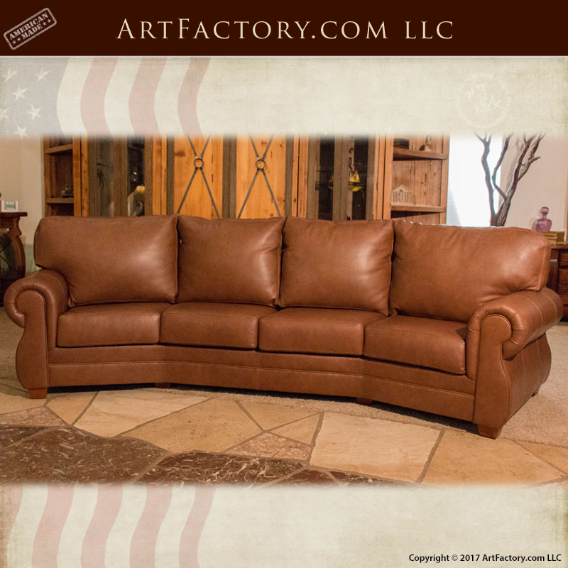 ... Custom Full Grain Leather Sofa Roll Arm Style Curved Leather Couch