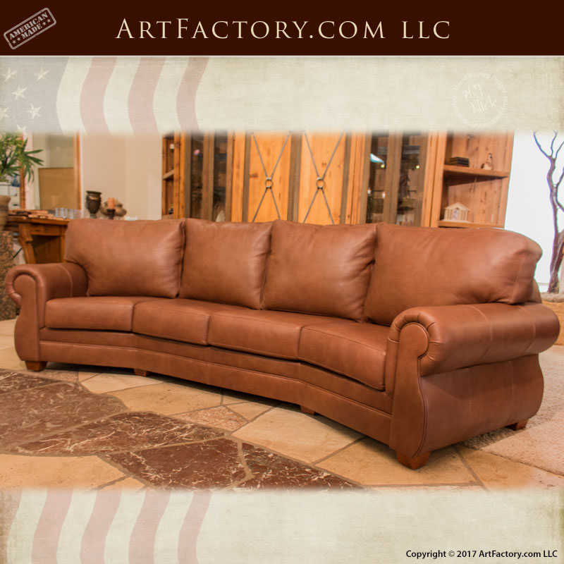 Custom Full Grain Leather Sofa: Roll Arm Style Curved Leather Couch