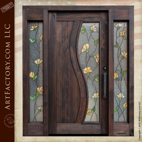 Tulip stained glass door