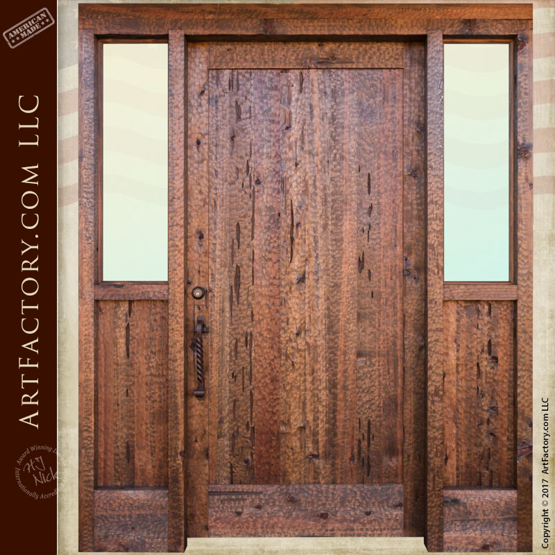 Solid Wood Castle Door | Hand Forged Iron Speak Easy Grill