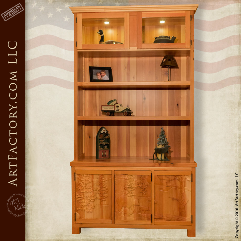 Solid Wood Display Cabinet: Custom Fine Art Hand Carved Hutch U2013 MH2000