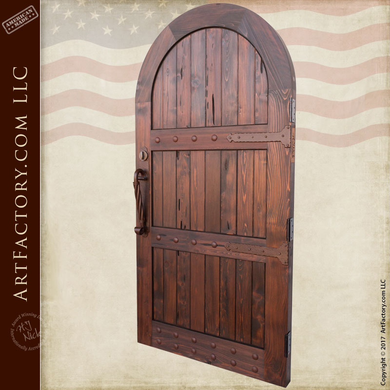 Arched Wooden Garden Gate Custom Vertical Groove Design