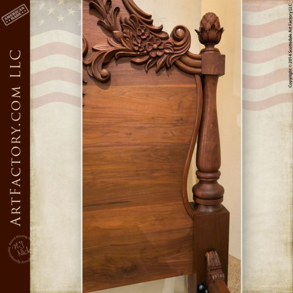 Hand Carved Bed: Hand Carved Walnut Bed: Fine Art Wood Carvings By Master