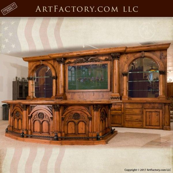 Old West Saloon Bar Modern Western Hand Carved Wood Bar