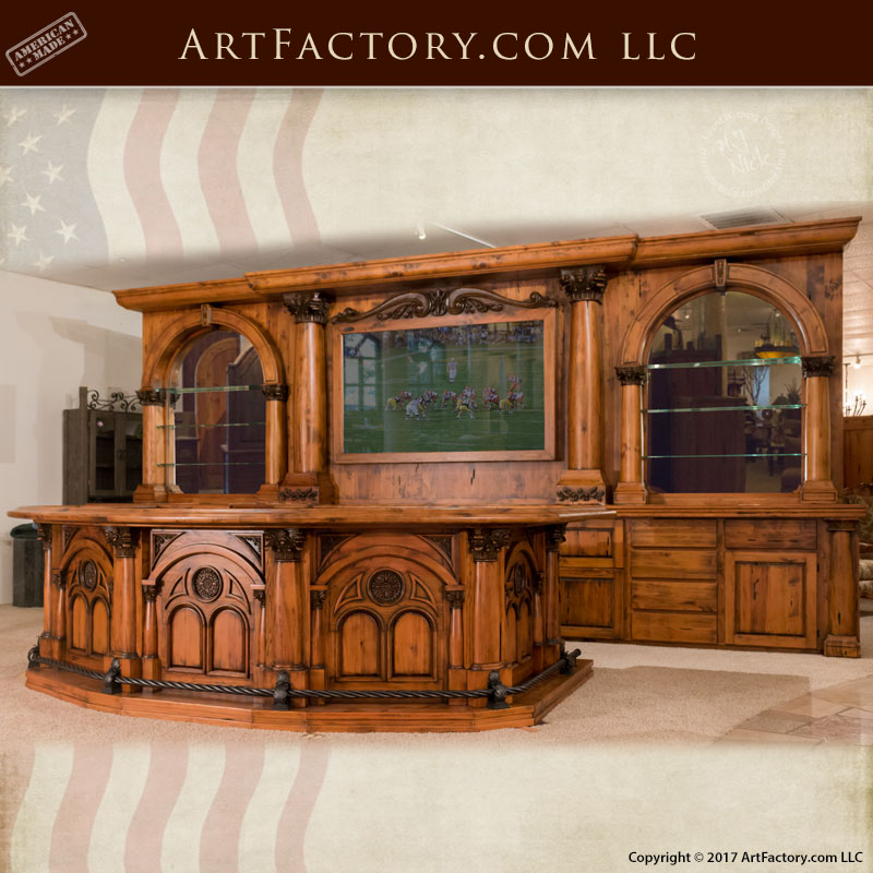 Bar Custom Wood And Woods: Old West Saloon Bar: Modern Western Hand Carved Wood Bar