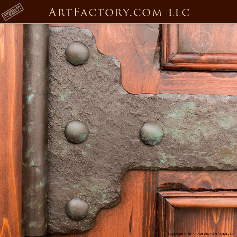 solid wood castle door, iron strap hinges