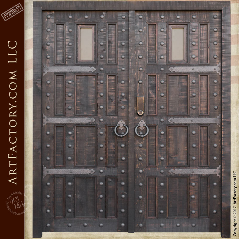 castle style entrance double doors ... & Castle Style Entrance Double Doors: Custom Wrought Iron Hardware