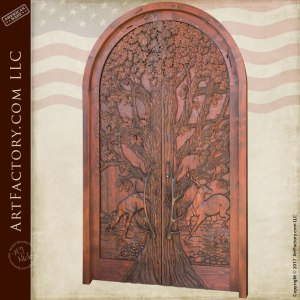 lodge grand entrance door hand carved nature theme door