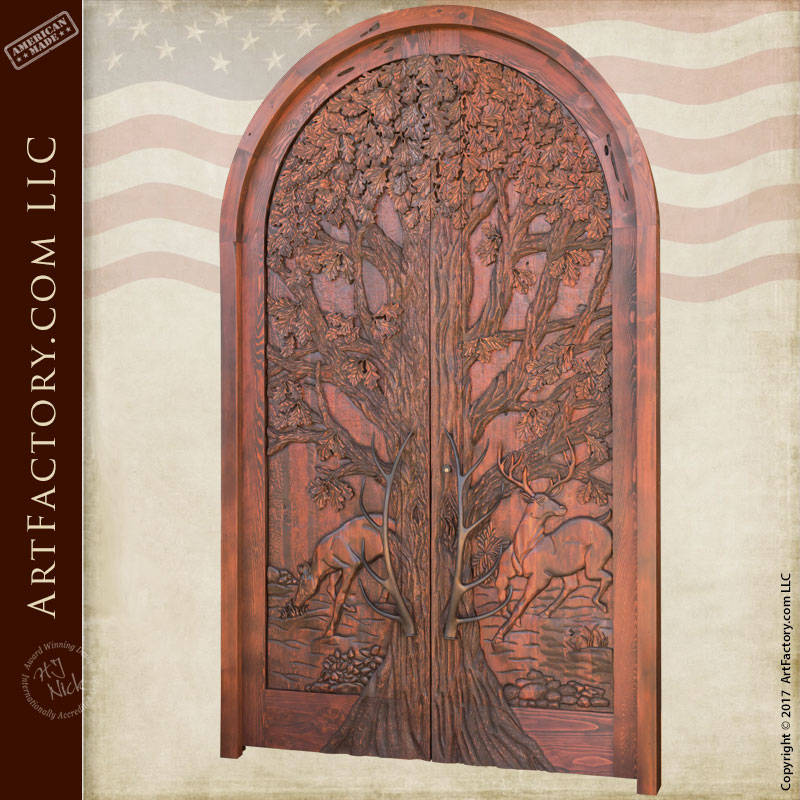 Lodge grand entrance door fine art hand carved nature theme for Grand entrance doors