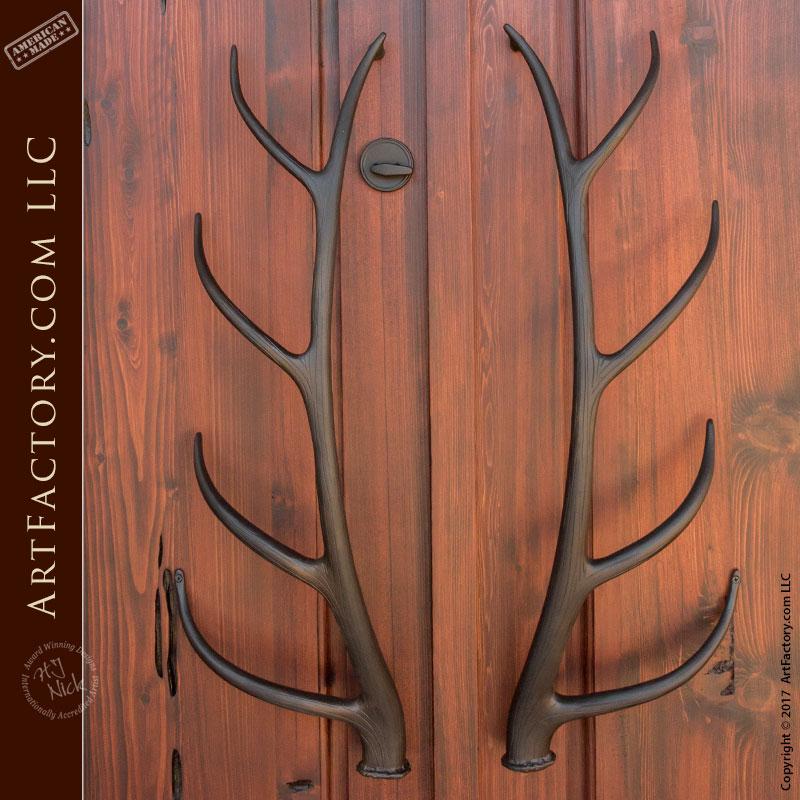 Elk Antler Iron Door Pulls Hand Forged By Master Blacksmiths