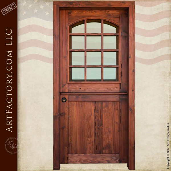 Custom Dutch Door Solid Wood Entry Door With 12 Pane Glass Window