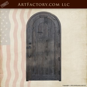 Wooden Arched Custom Entrance Door Wrought Iron Speakeasy Grill