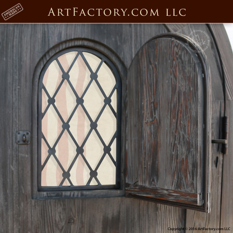 Wooden Arched Custom Entrance Door Wrought Iron Speakeasy Grill & Wooden Arched Custom Entrance Door | Wrought Iron Speakeasy Grill