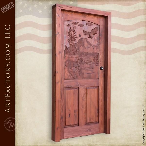 Hand Carved Forest Scene Door