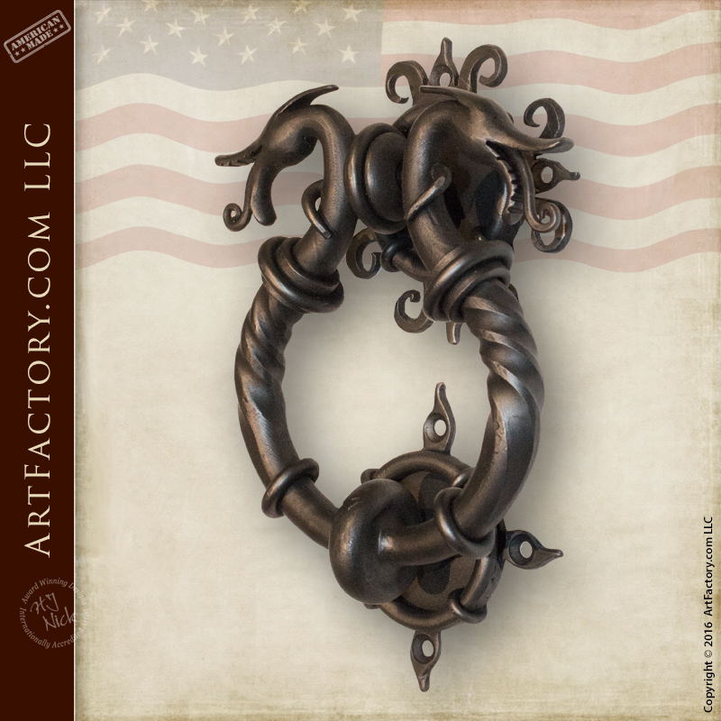 Medieval Dragon Door Knocker: Hand Forged By Master Blacksmith U2013 HH1406