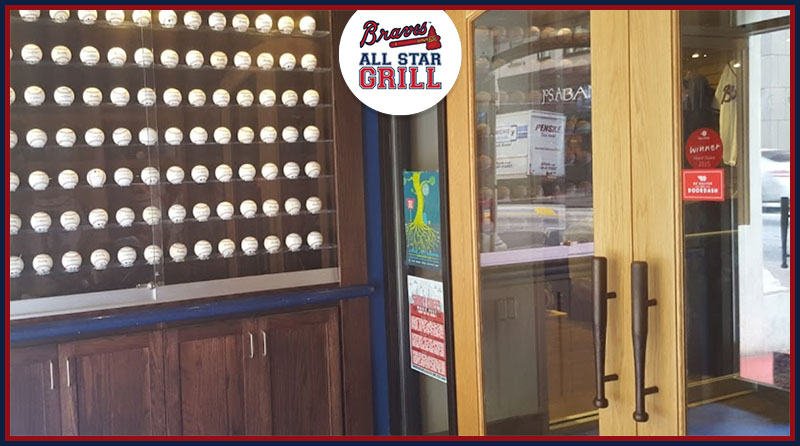 Atlanta Braves baseball bat door pulls