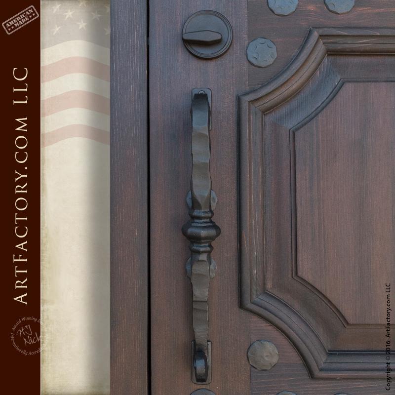 custom decorative security door with hand hammered scroll bar door handle