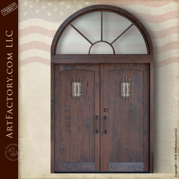 handcrafted double entrance doors