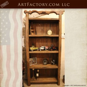 rustic handcrafted wooden bookcase