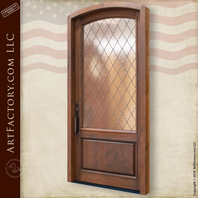 Semi-Arch Leaded Glass Panel Door