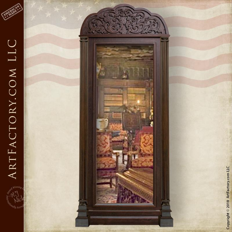 hand carved mirrored safe room door