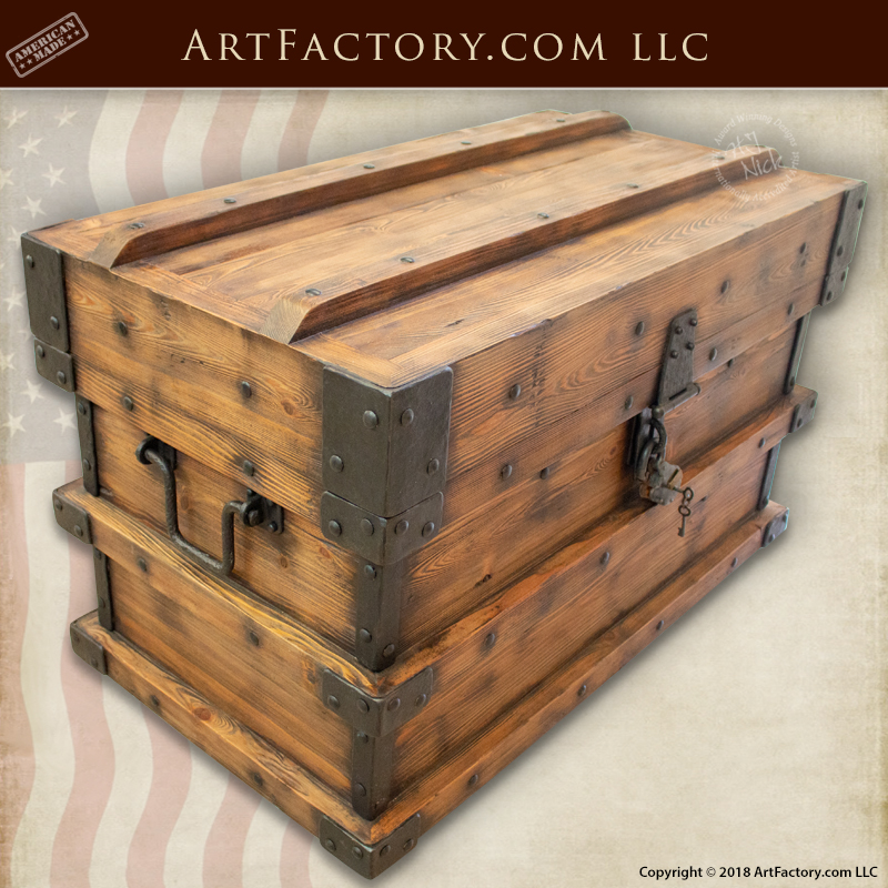 Wooden Strong Box Storage Trunk