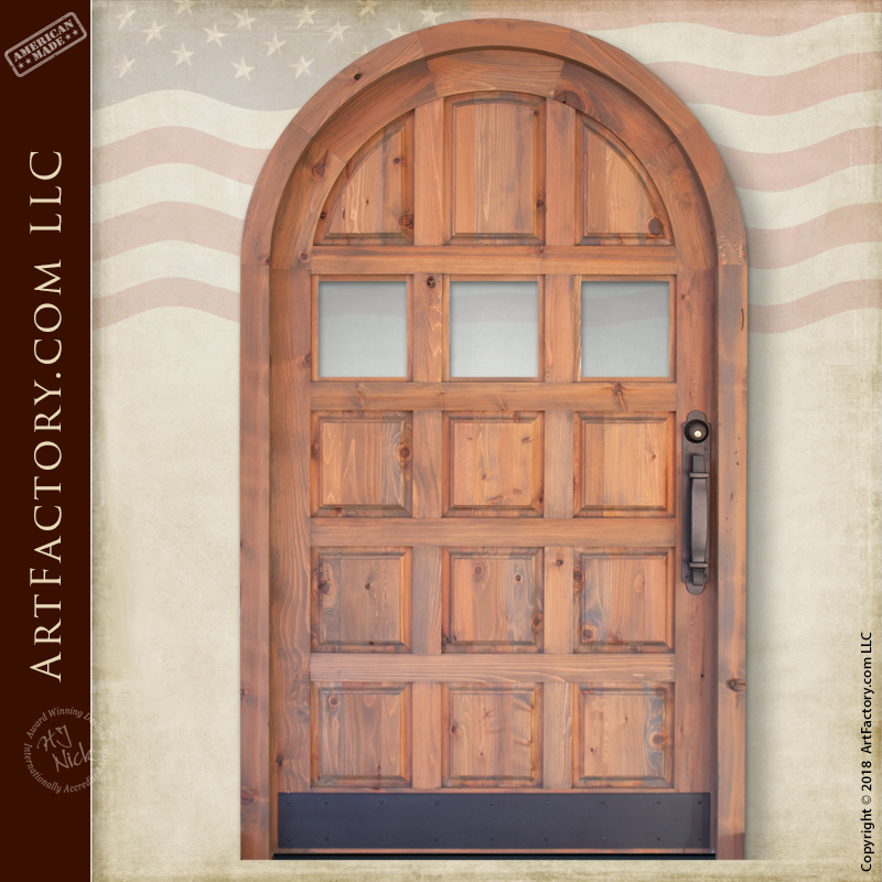 Arched Wood Panel Door: Solid Wood With Custom Iron Hardware U2013 AD5024
