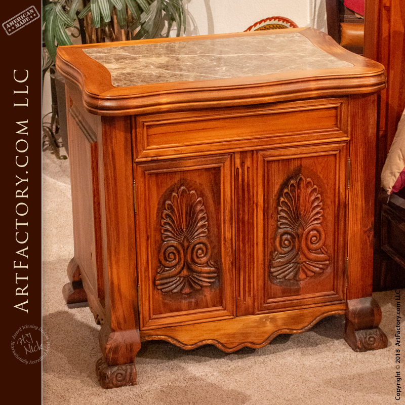 French Style Hand Carved Nightstand