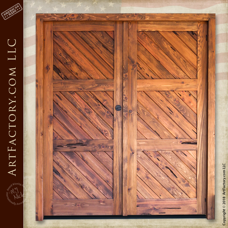 diagonal plank double doors