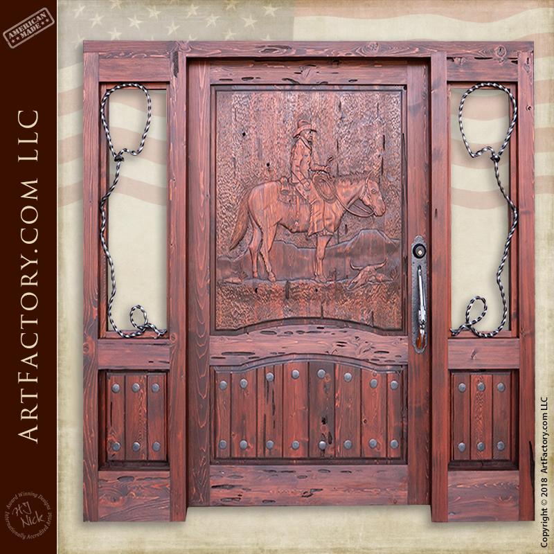western hand carved door