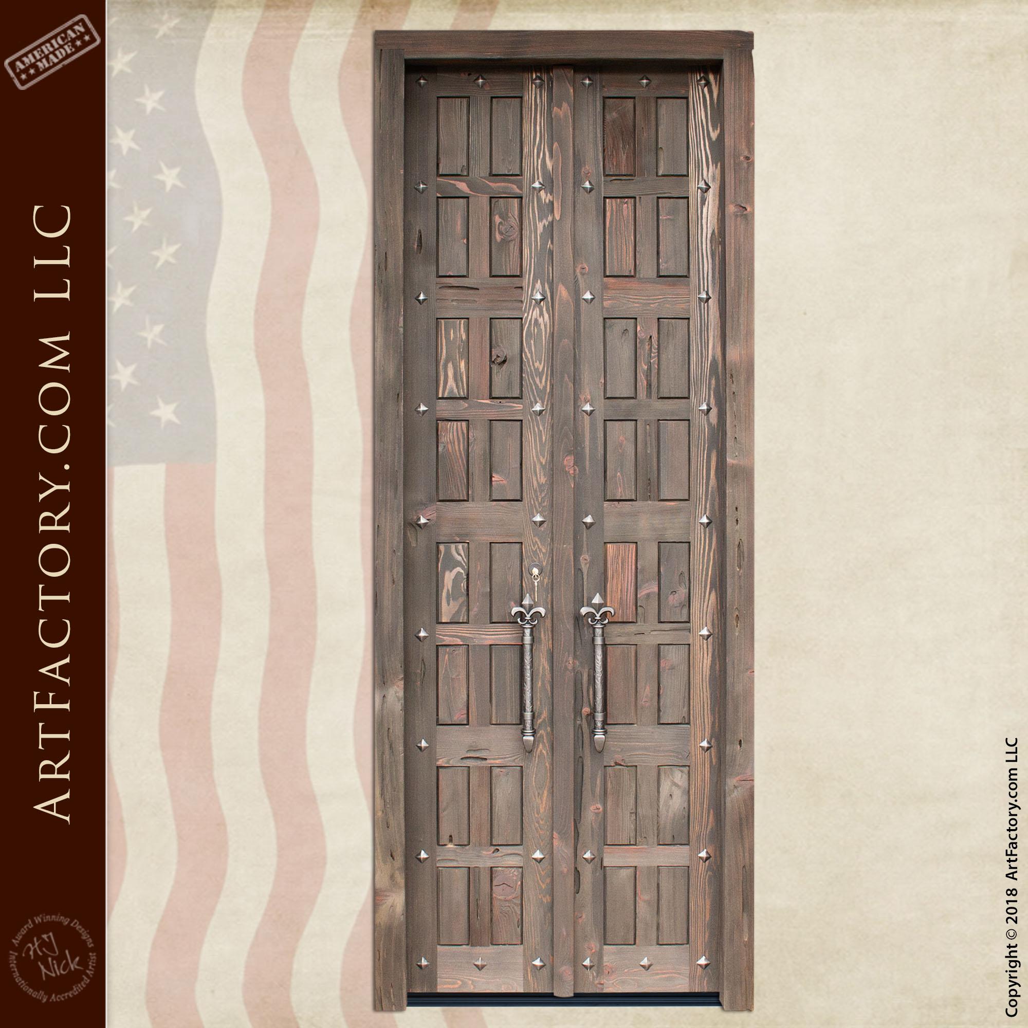 Gothic Style Double Doors with Fleur de Lis Pulls