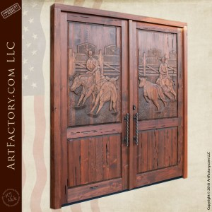 Hand Carved Rodeo Themed Cowboy Double Door
