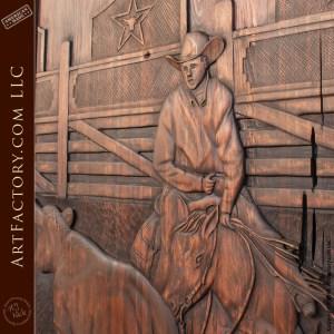 cowboy on horseback carving