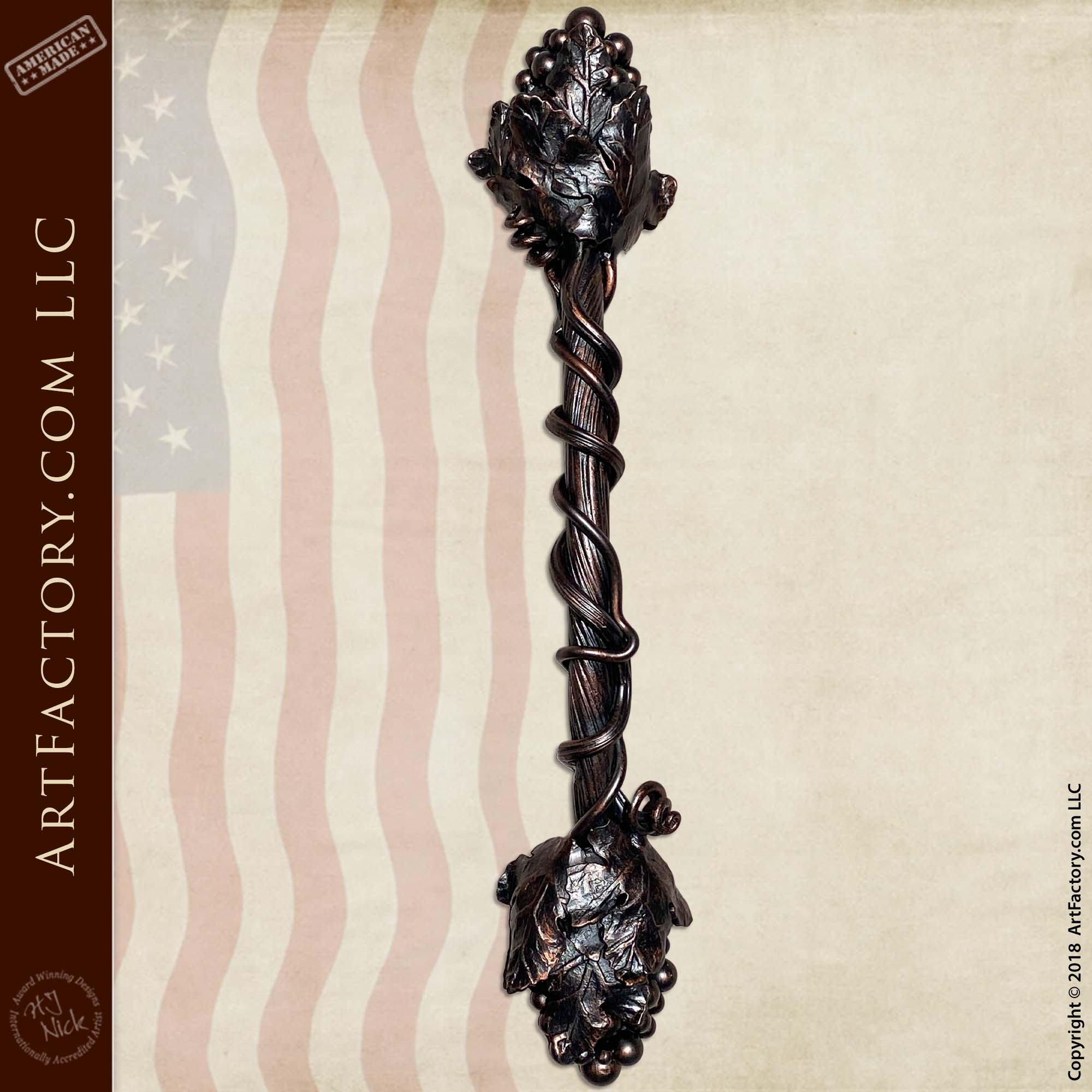 Grapevine Wine Room Door Pull: Wrought Iron With Copper Patina Finish