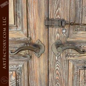 custom ornamental lever style handles and slide bolt lock