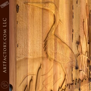 heron wood carving close up