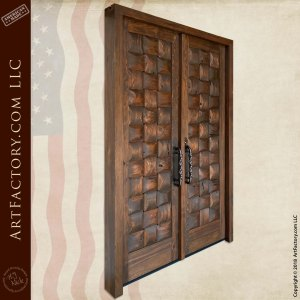 Rustic Basket Weave Double Doors angle