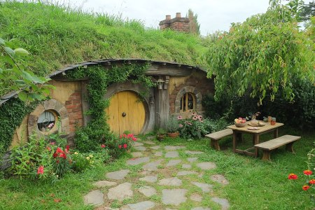 Hobbit hole with yellow door