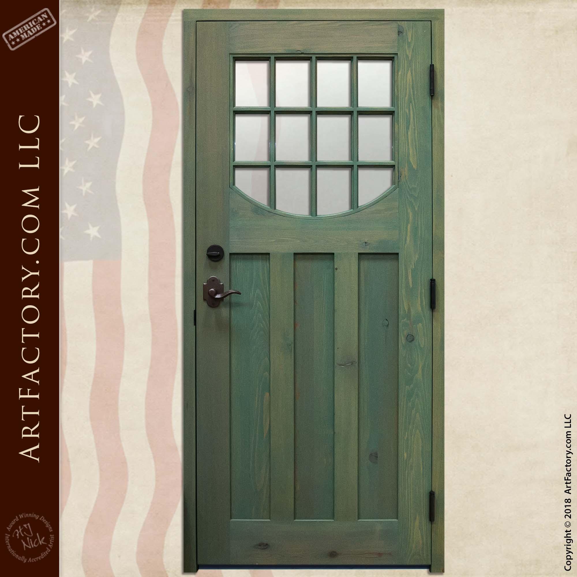 Custom Cottage Door with Hand-Forged Iron Flower Door Knocker