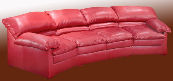Curved Red Leather Custom Sofa - 981800 - ArtFactory.com