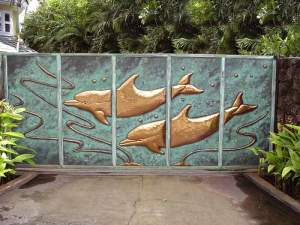 Driveway Gate - Hand Forged Solid Copper Dolphins - 8730DW