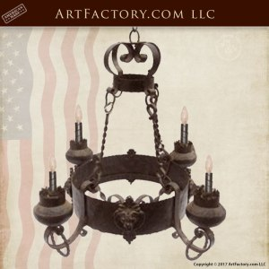 Lion Crest Gothic Castle Chandelier, Wrought Iron NL101